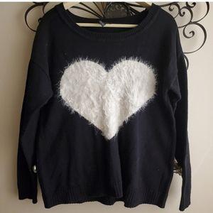 INC fuzzy heart sweater